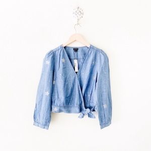 j. crew chambray wrap top in star print